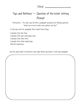 Tops and Bottoms - Reading Street 3.2.4 Packet
