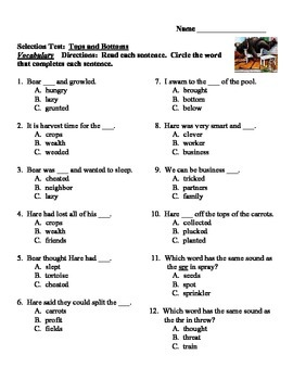 Tops and Bottoms Reading Street Third Grade Vocabulary and Selection Test