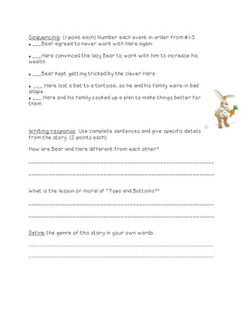 Tops and Bottoms Reading Test---Kid-friendly!