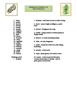 Tops and Bottoms Spelling & Vocabulary List & Activities;