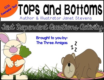 Tops and Bottoms Text-Dependent Questions Worksheet