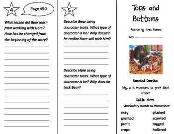 Tops and Bottoms Trifold - Journeys 3rd Gr Unit 3 Wk 2 (2014, 2017 Common Core)