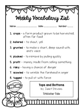 Tops and Bottoms - Vocabulary Resources
