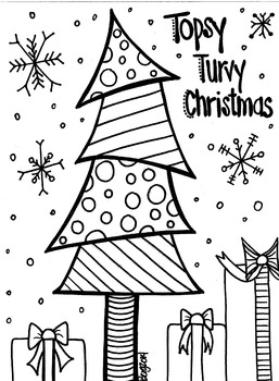 Topsy Turvy Christmas Tree Coloring Sheet