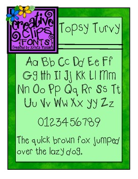 Topsy Turvy Font {Creative Clips Fonts}