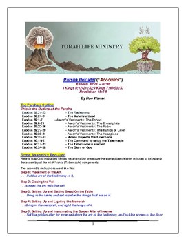 Torah Portion - Exodus - Pekudei - Eleventh of Eleven