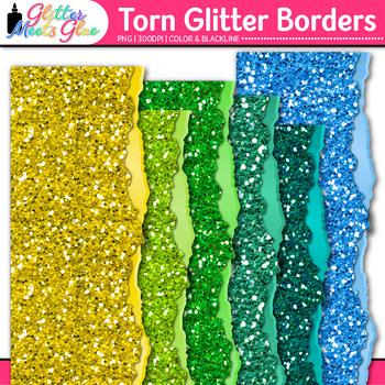 Torn Glitter Page Border Clip Art {Glitter Meets Glue}