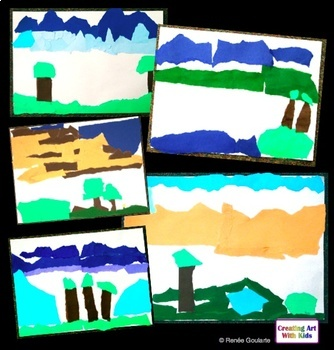 Art Lesson Torn Paper Collage Landscape Geography Integrated