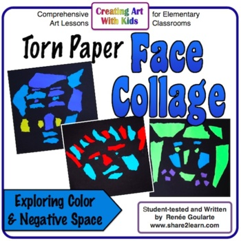 Art Lesson Torn Paper Face Collage