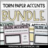 Torn Paper Slide Accents - Digital Paper Backgrounds & Cli
