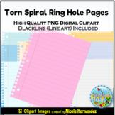Torn Spiral Notepaper Clip Art for Teachers