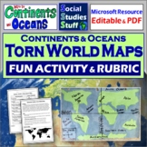 Tear a World Map Activity - Continents and Oceans
