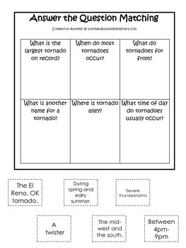 Tornado #2 themed Answer the Question printable game.  Preschool activity.