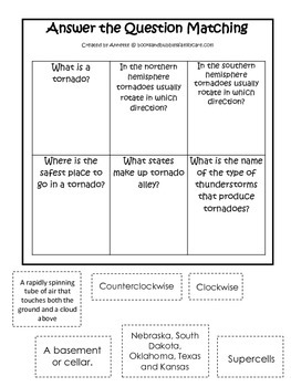 Tornado #4 themed Answer the Question printable game.  Pre