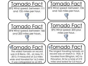 Tornado Facts Picture Word Flash Cards. Preschool flash cards for children.