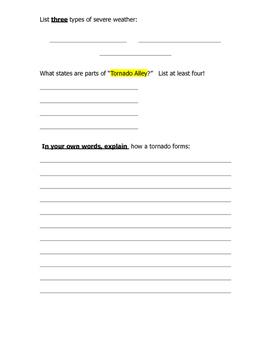 Tornado Investigation Sheet