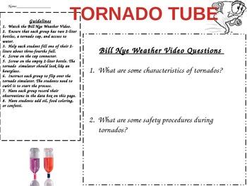 Tornado Tube Lab/Bill Nye Video Chart