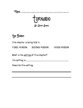 Tornado by Betsy Byars Comprehension Set