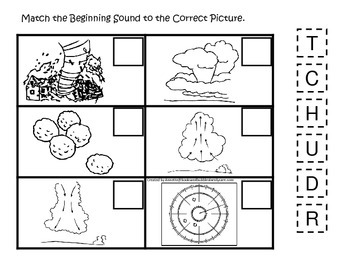 Tornado themed Match the Sound/Letter printable game.  Preschool activity.