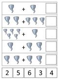 Tornado themed Math Addition printable game.  Preschool math activity.