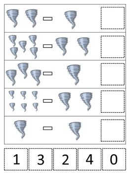 Tornado themed Math Subtraction printable game.  Preschool math activity.