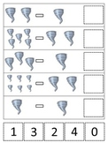 Tornado themed Math Subtraction printable game.  Preschool math activity.