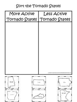 Tornado themed State Sorting #1 printable game.  Preschool activity.