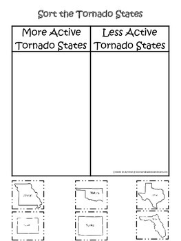 Tornado themed State Sorting #2 printable game.  Preschool activity.