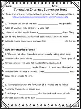 Tornadoes Internet Scavenger Hunt WebQuest Activity