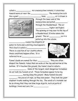 Tornadoes Note Taking Worksheet
