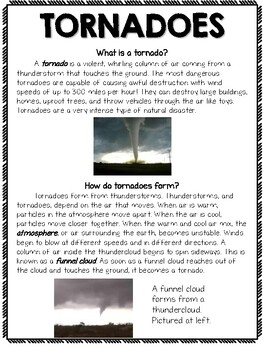 Tornadoes Passage and Text Features Questions Set with Context Clues