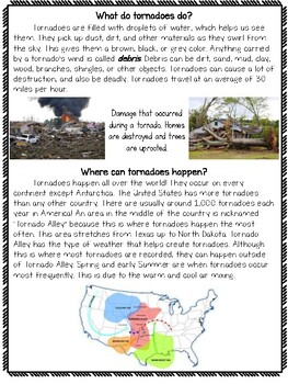 Tornadoes Informational Passage Activity Pack