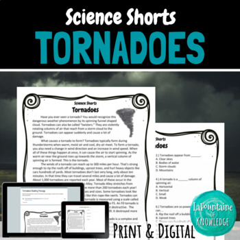 Tornadoes Reading Comprehension Passage