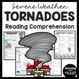 Tornadoes Reading Comprehension Worksheet; Weather; No-Prep, Spring