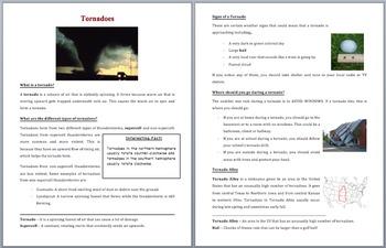 Tornadoes - Scientific Reading Comprehension Article – Grades 5-7