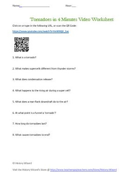 Geography: Tornadoes in Four Minutes Video Worksheet