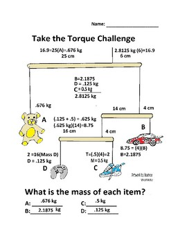Torque Worksheet: The Teddy Bear Challenge | TpT