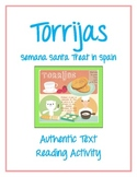 Torrijas Semana Santa Treat in Spain - Authentic Text Reading Activity