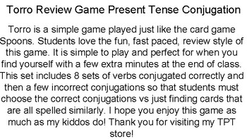 Torro Review Game - Present Tense Conjugation