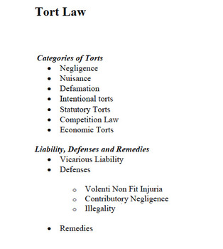 Tort Law Outline and Definitions