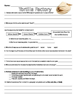 Tortilla Factory Literacy & Economics Reflection Worksheet