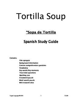 Tortilla Soup-Spanish Study Guide