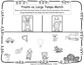 Tortoise & Hare Fast/Presto vs. Slow/Largo Matching Activity Packet PDF