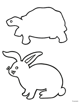 Tortoise & Hare:  Free Black & White Outline/Shadow Puppet Templates