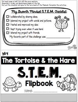 Tortoise and Hare STEM Challenge and Growth Mindset Flip Book