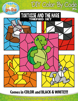 Tortoise and the Hare Color By Code Clipart {Zip-A-Dee-Doo-Dah Designs}