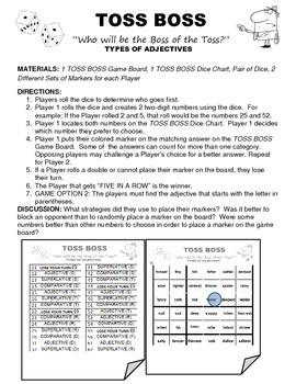 Toss Boss Types of Adjectives