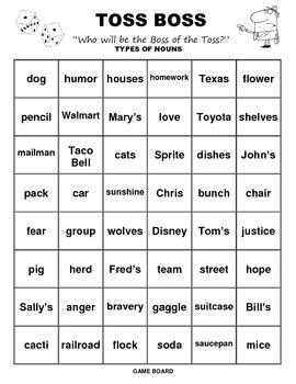 Toss Boss Types of Nouns