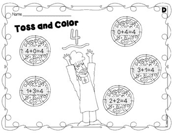 Toss and Color - Math Facts Practice for RTI {Print and Go!}