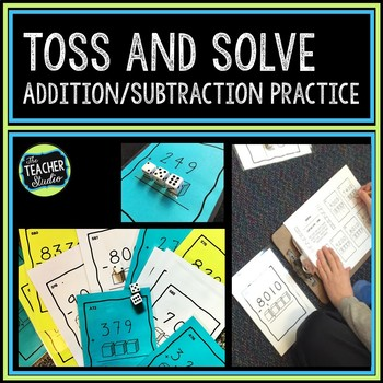 Toss and Solve Addition and Subtraction Task Cards